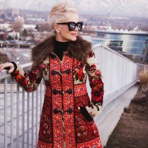 Anthropologie Elevenses Women's Embroidered KARELIA Faux Fur Collar Coat